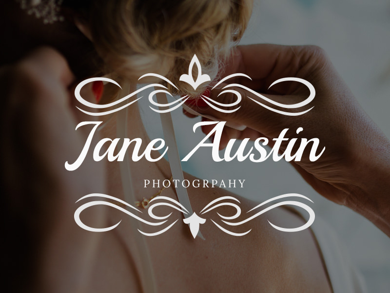 Elegant swirls wedding logo