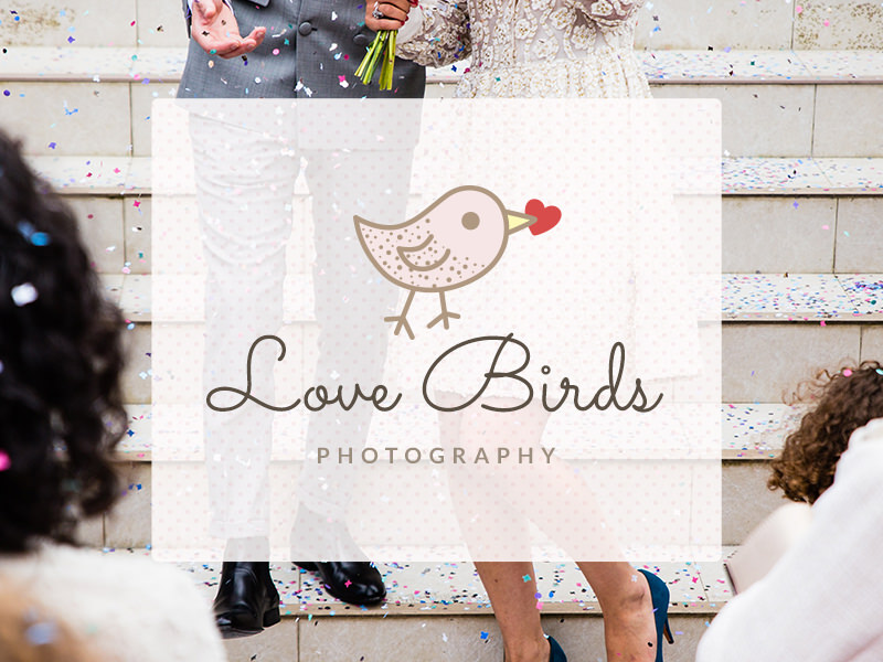 wedding photography logo with a bird and heart graphic