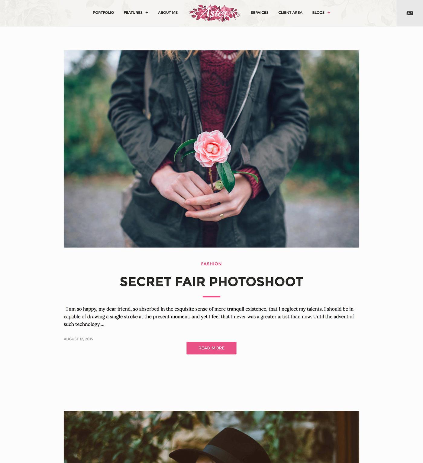 Aster - Feminine Photography WordPress Theme - Classic blog layout