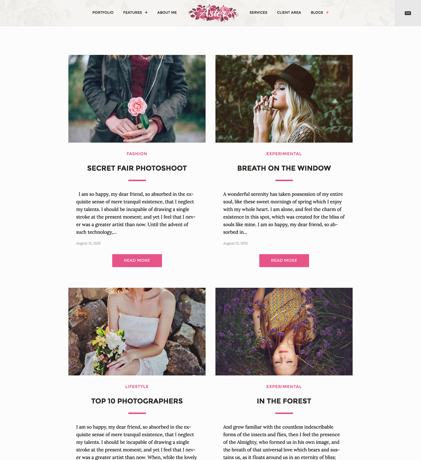 Aster - Feminine Photography WordPress Theme - two column grid blog layout