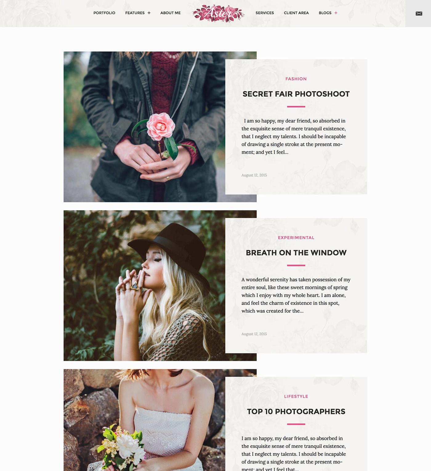 Aster - Feminine Photography WordPress Theme - Modern, split blog layout