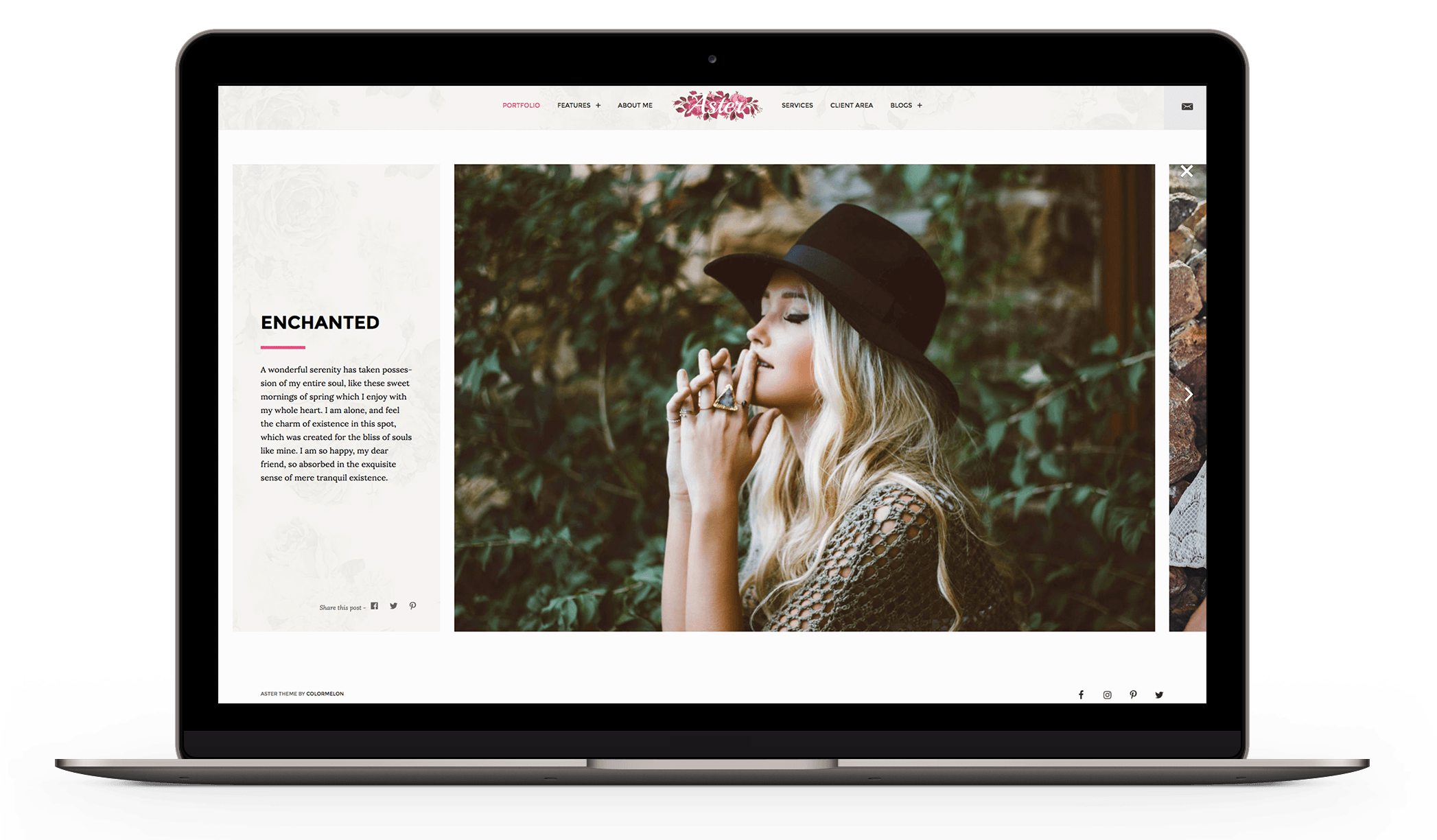 Aster - Horizontally scrolling photography theme
