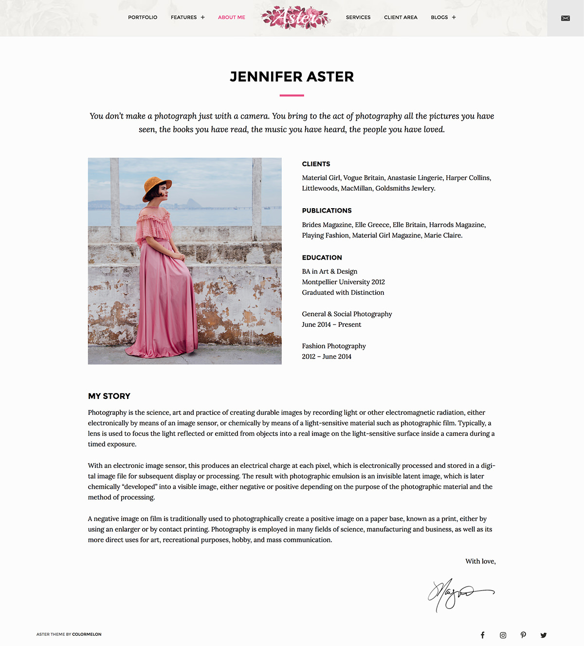 Aster photography WordPress theme - beautiful typography and layout