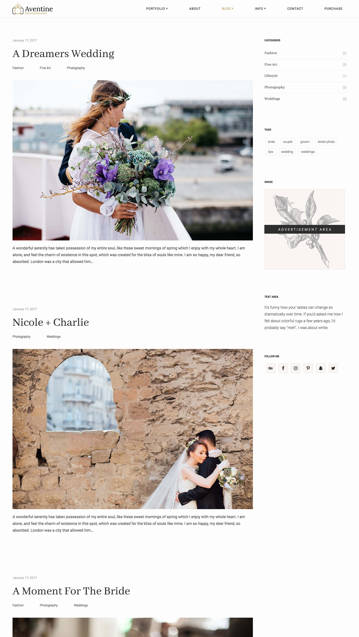 Aventine Wedding Photography WordPress Theme - classic blog layout