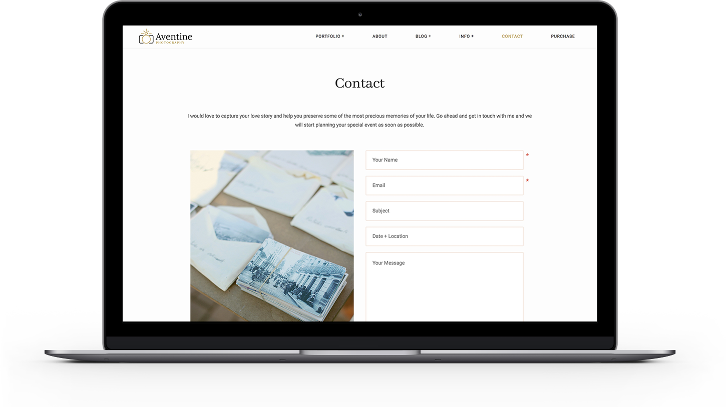 Aventine theme contact page