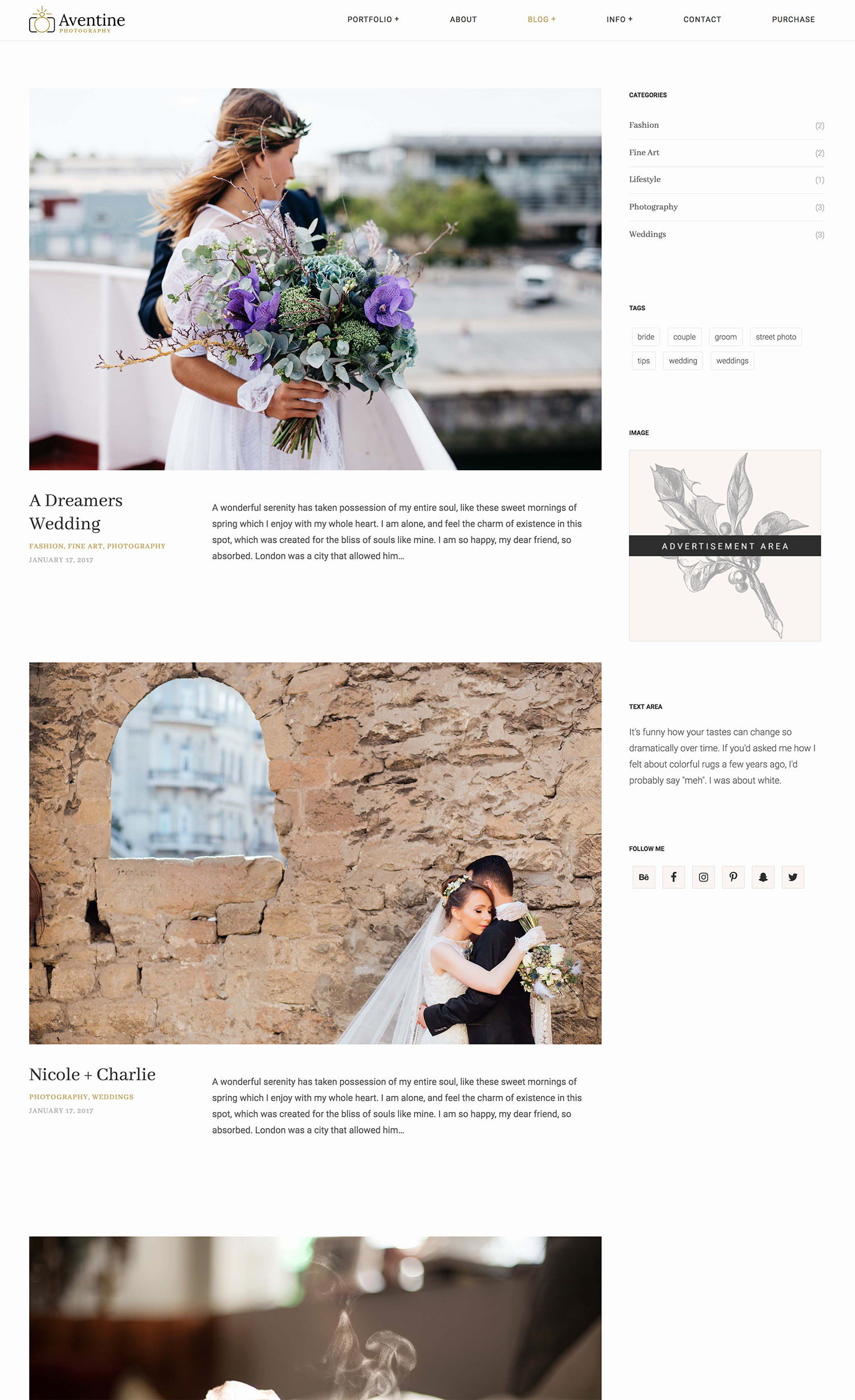 Aventine Wedding Photography WordPress Theme - modern blog layout
