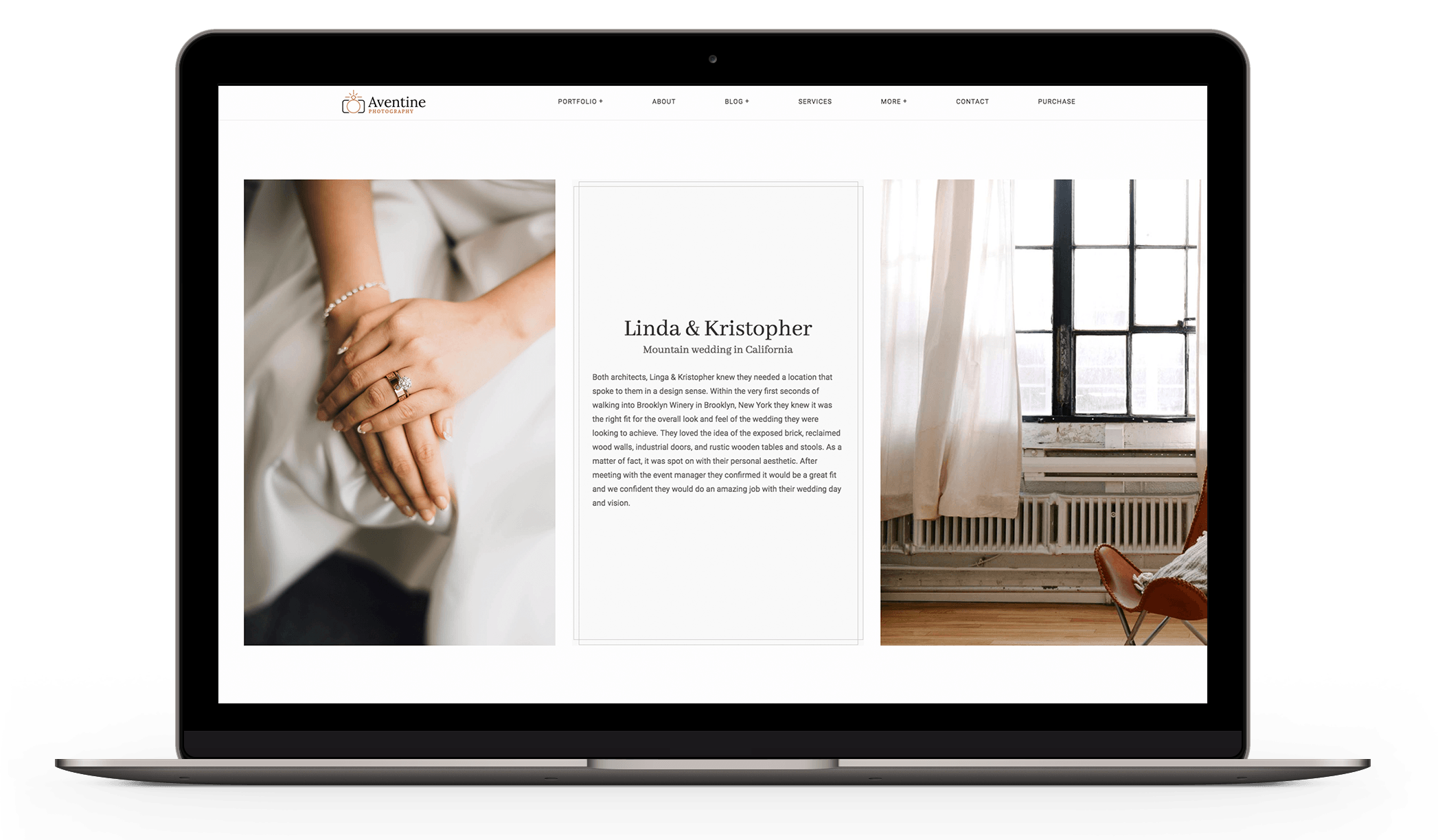 Portfolio WordPress theme for wedding photographers called Aventine