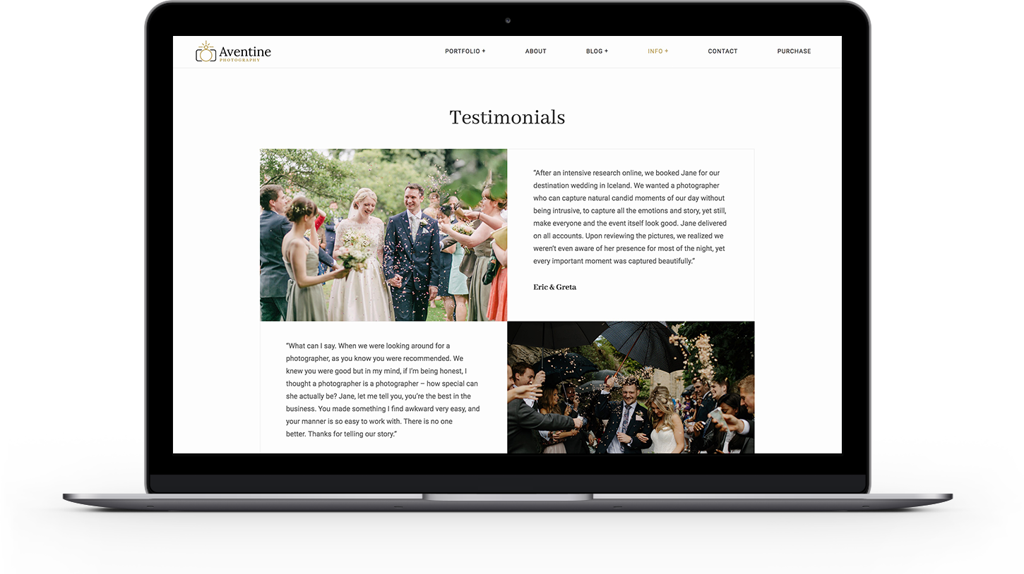 Add your client Testimonials in Aventine theme