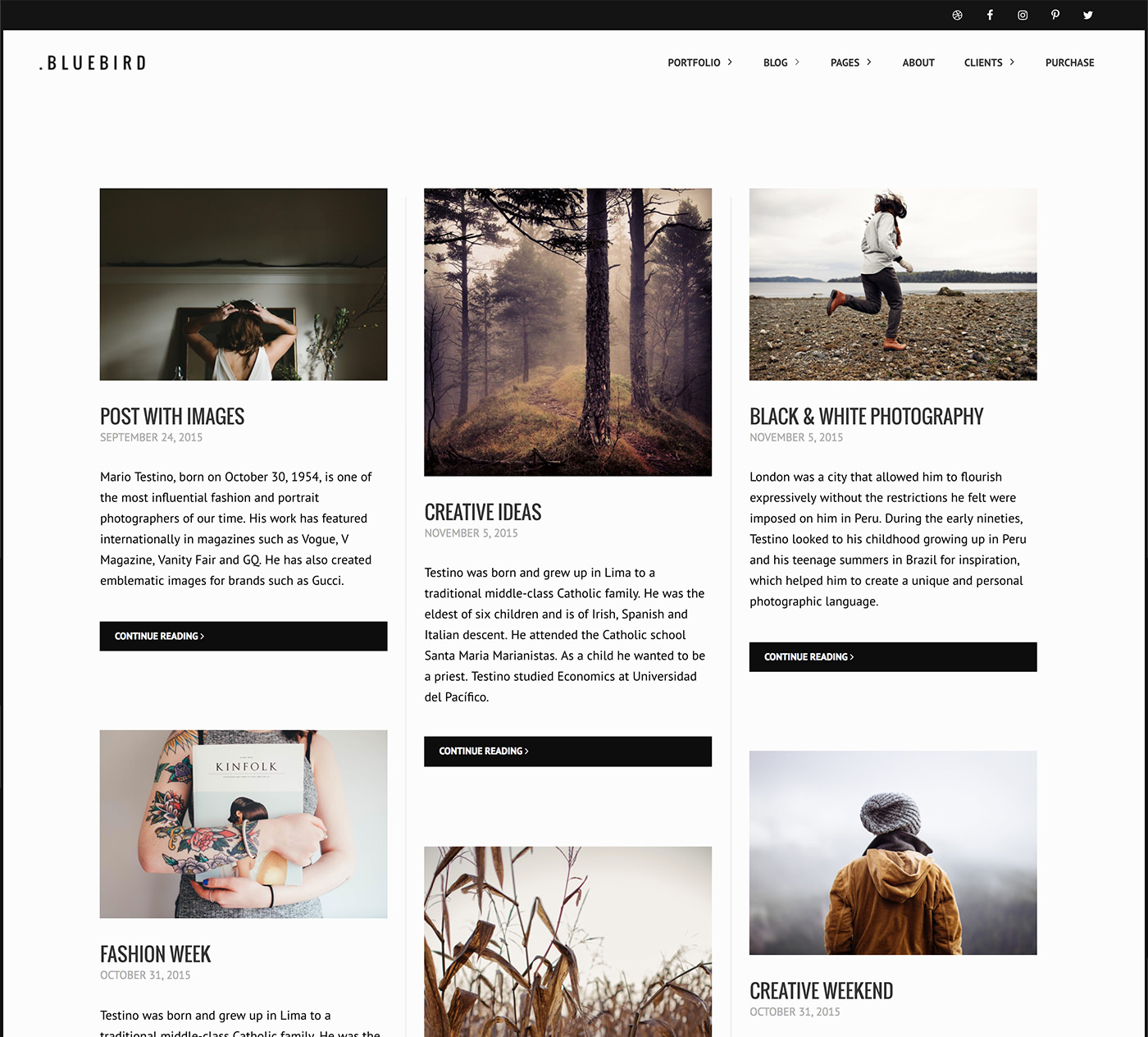 Bluebird photography theme - masonry blog archive