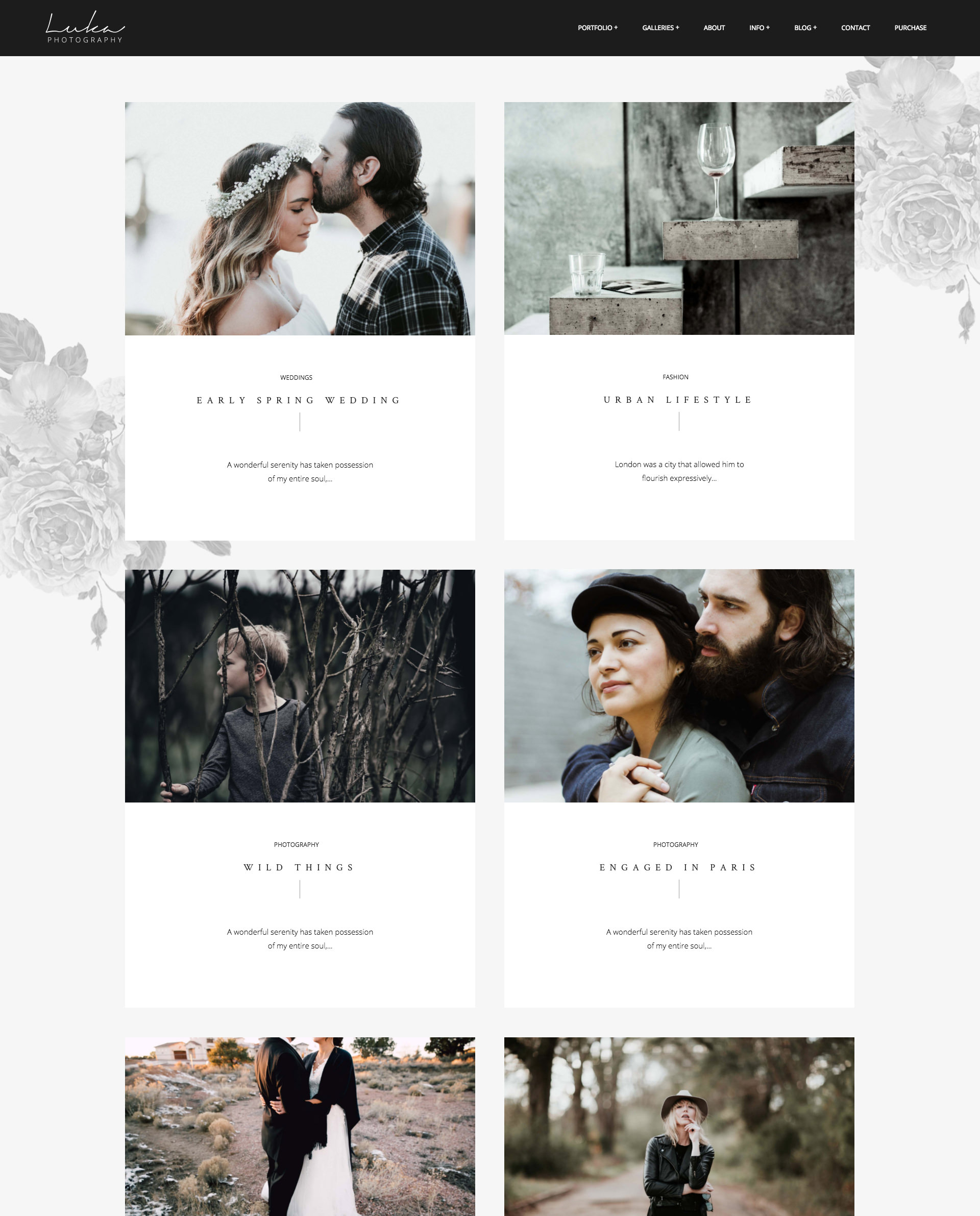 Luka Portfolio Theme for Photographers - elegant, romantic design