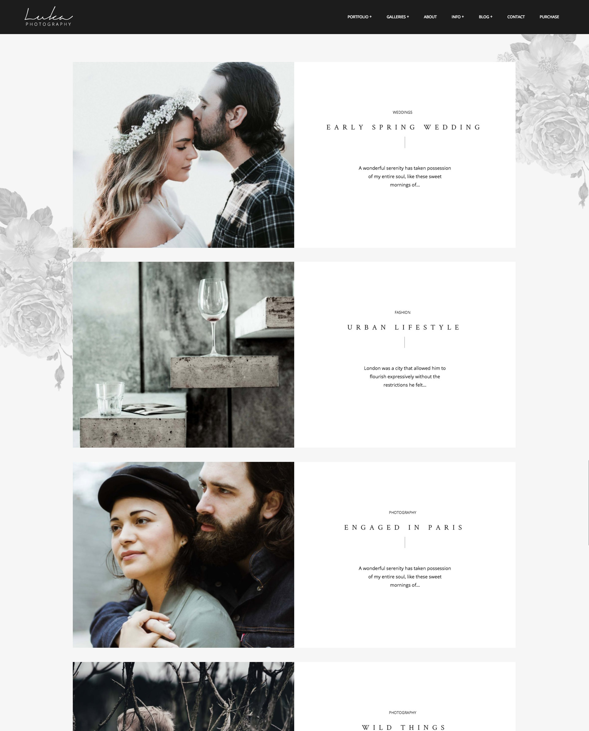 Luka Photography WordPress theme - split, list style blog layout