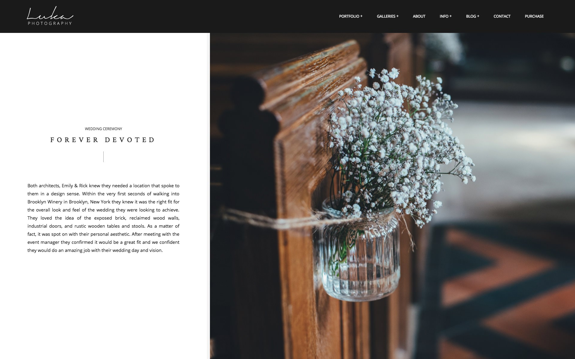 Luka Portfolio Theme for Photographers - horizontal gallery layout with text