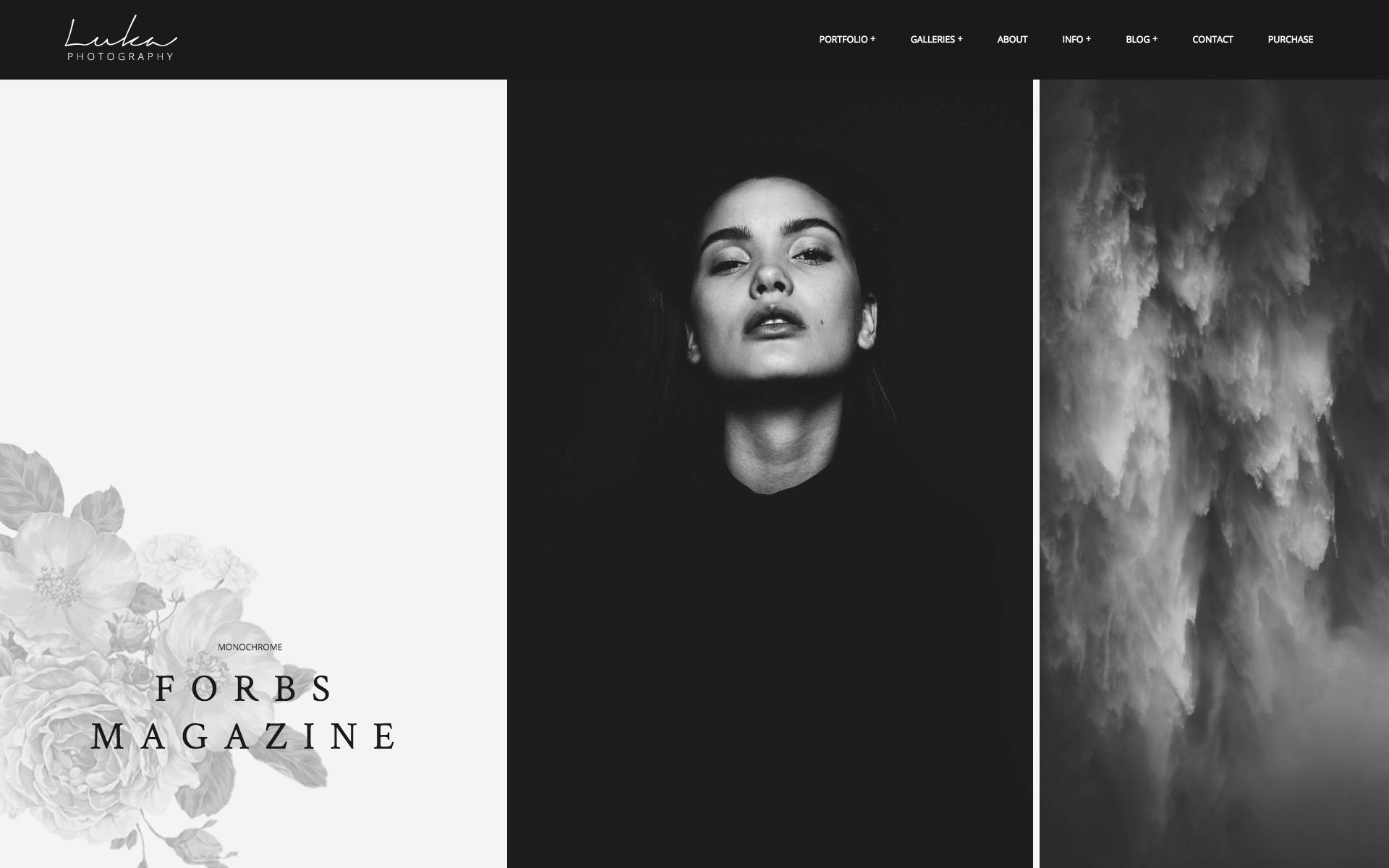 Luka Portfolio Theme for Photographers - horizontal gallery layout without text