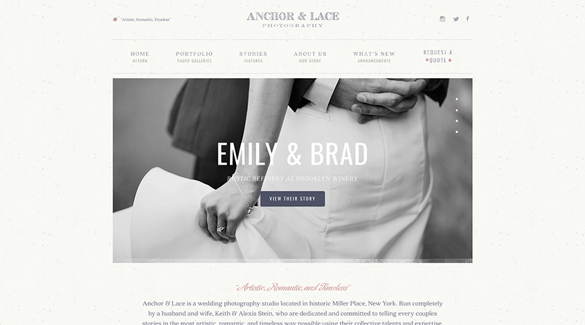 Anchor lace is a great example of how a custom website should look you can clearly see that a professional web designer was at work here