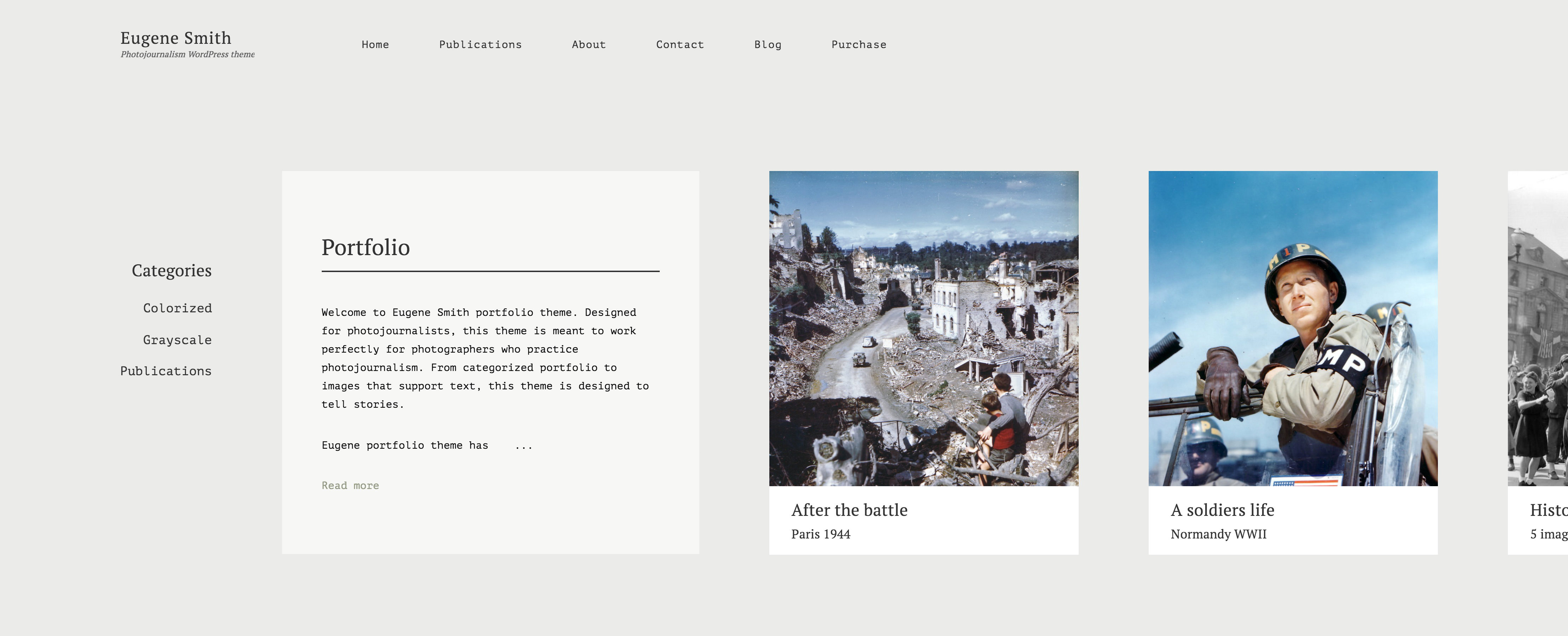 Eugene photojournalism theme -horizontal portfolio with categories.