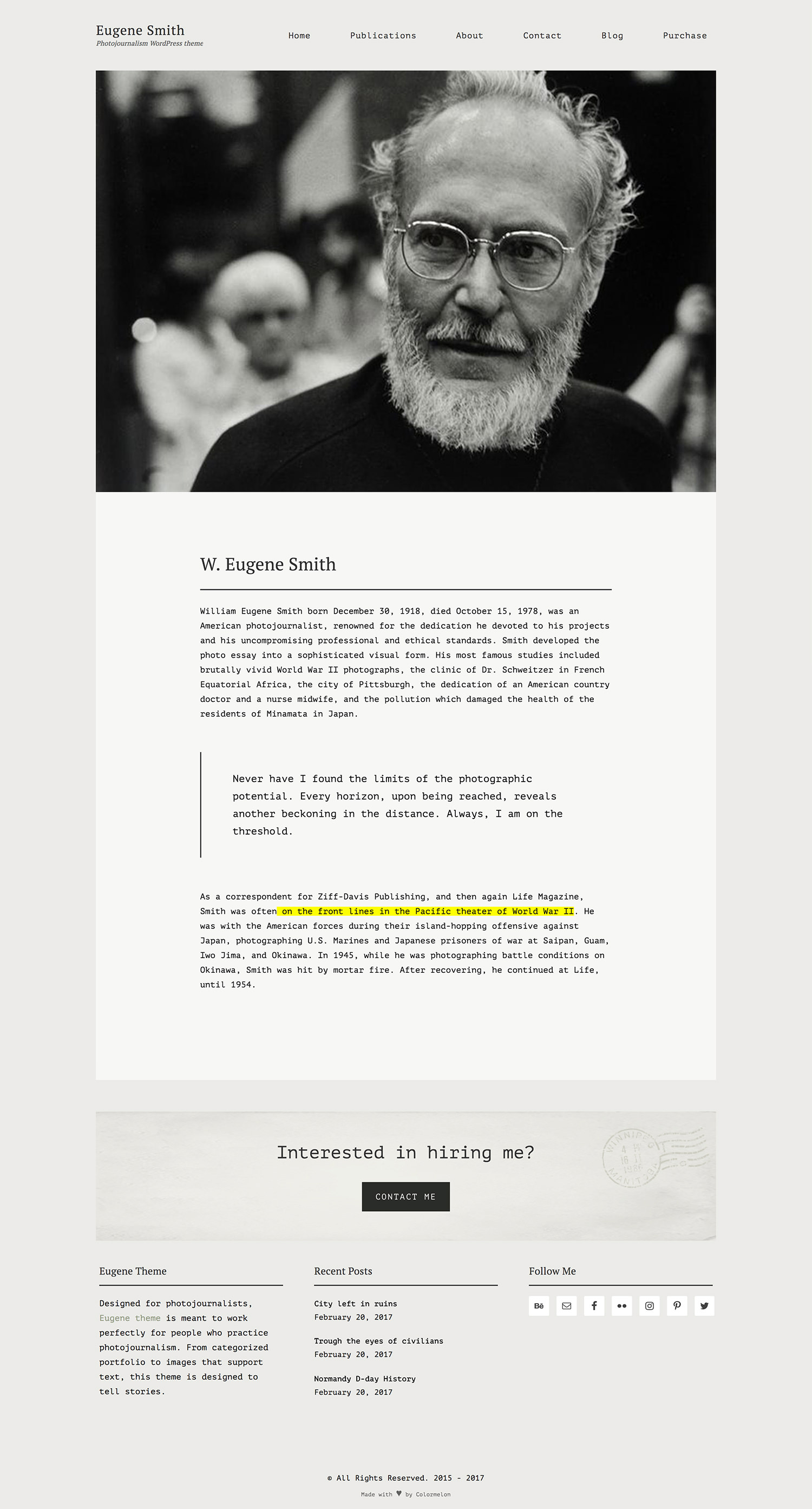 Eugine portfolio WordPRess theme single page example.