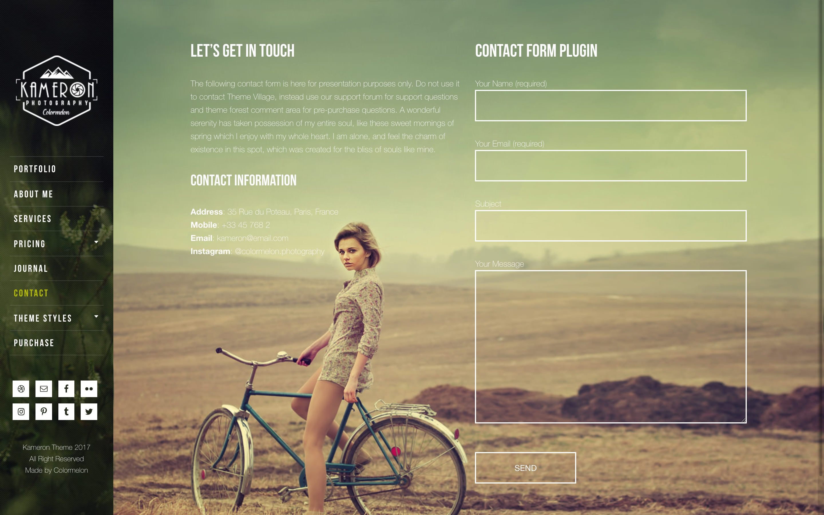 Kameron Photography WordPress theme - upload your own page background images