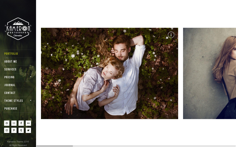 Kameron is a horizontally scrolling WordPress portfolio theme for photographers