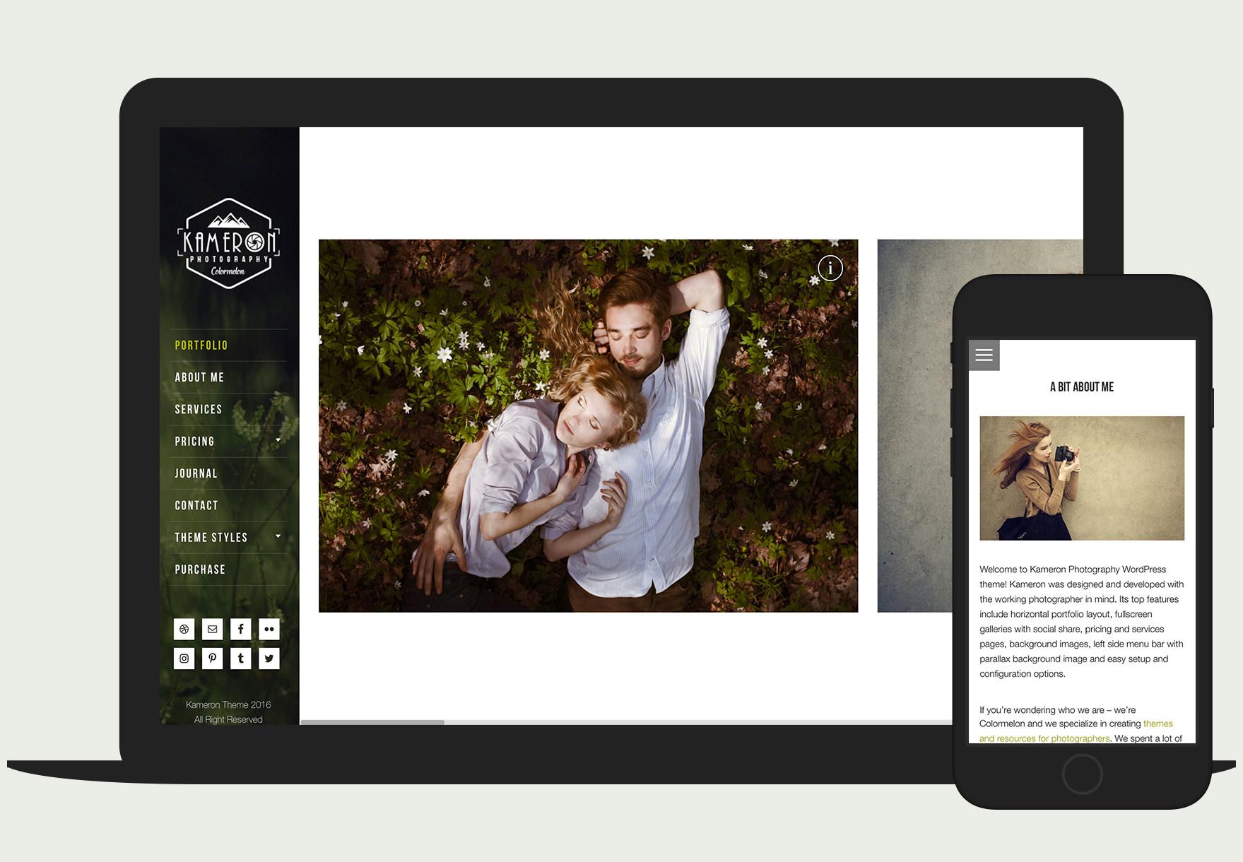 Kameron Photography Portfolio is a responsive WordPress theme