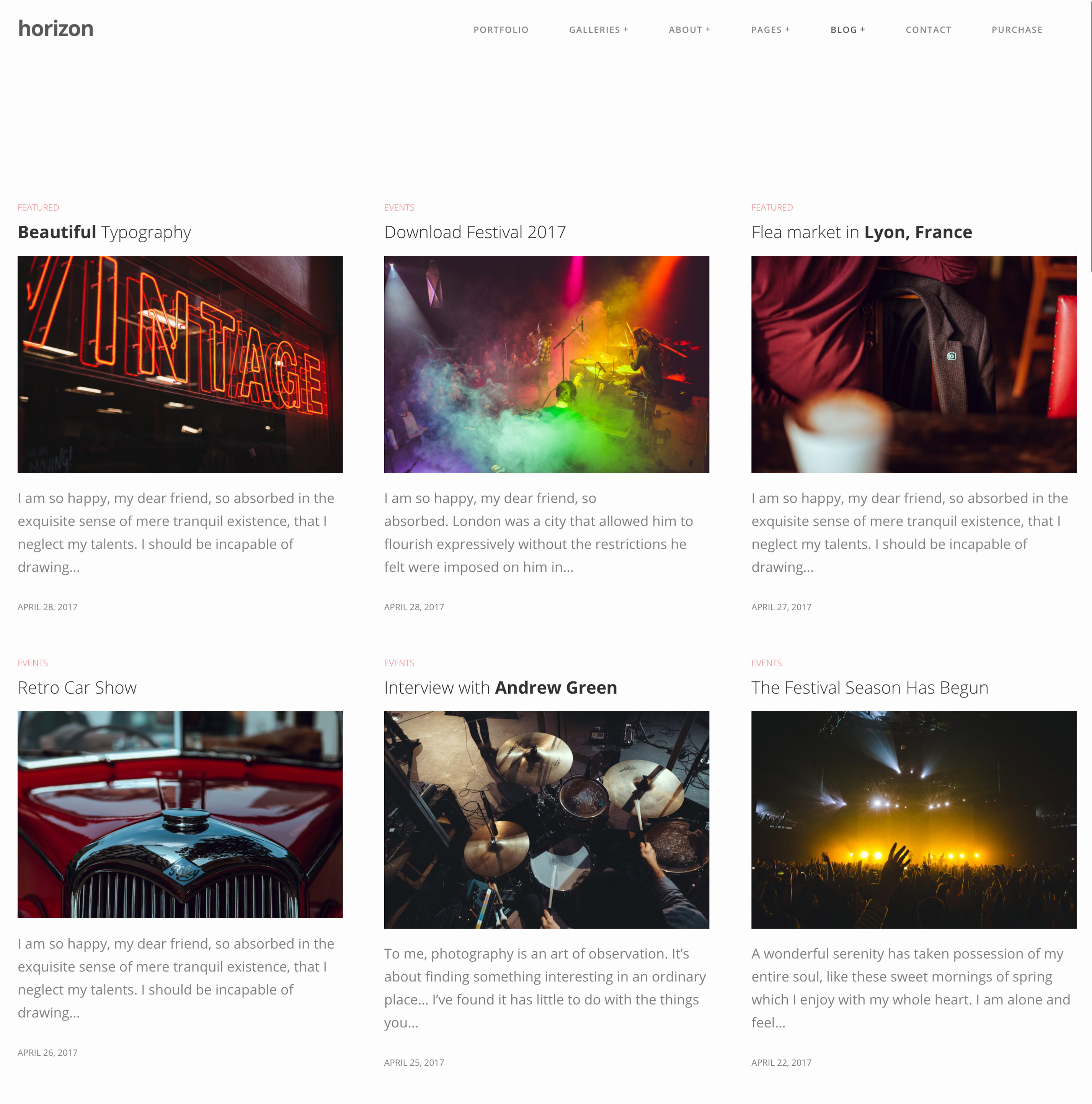 Horizon portfolio - masonry blog archive layout