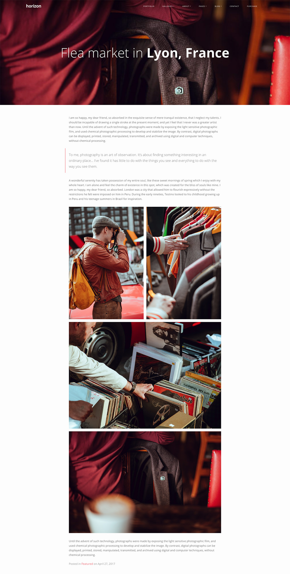 example of a blog post in horizon photography theme