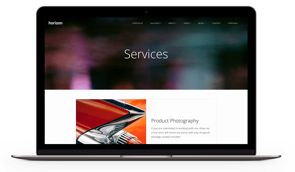 Services page for Horizon WordPress theme