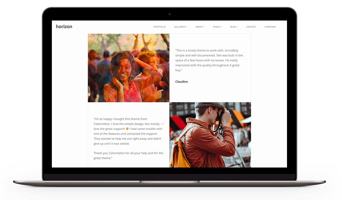 Testimonials page for Horizon WordPress theme
