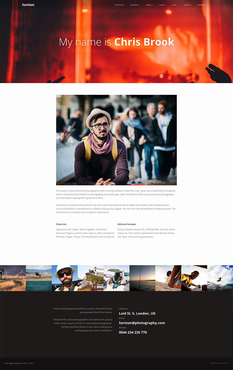 Horizon portfolio theme - About page example