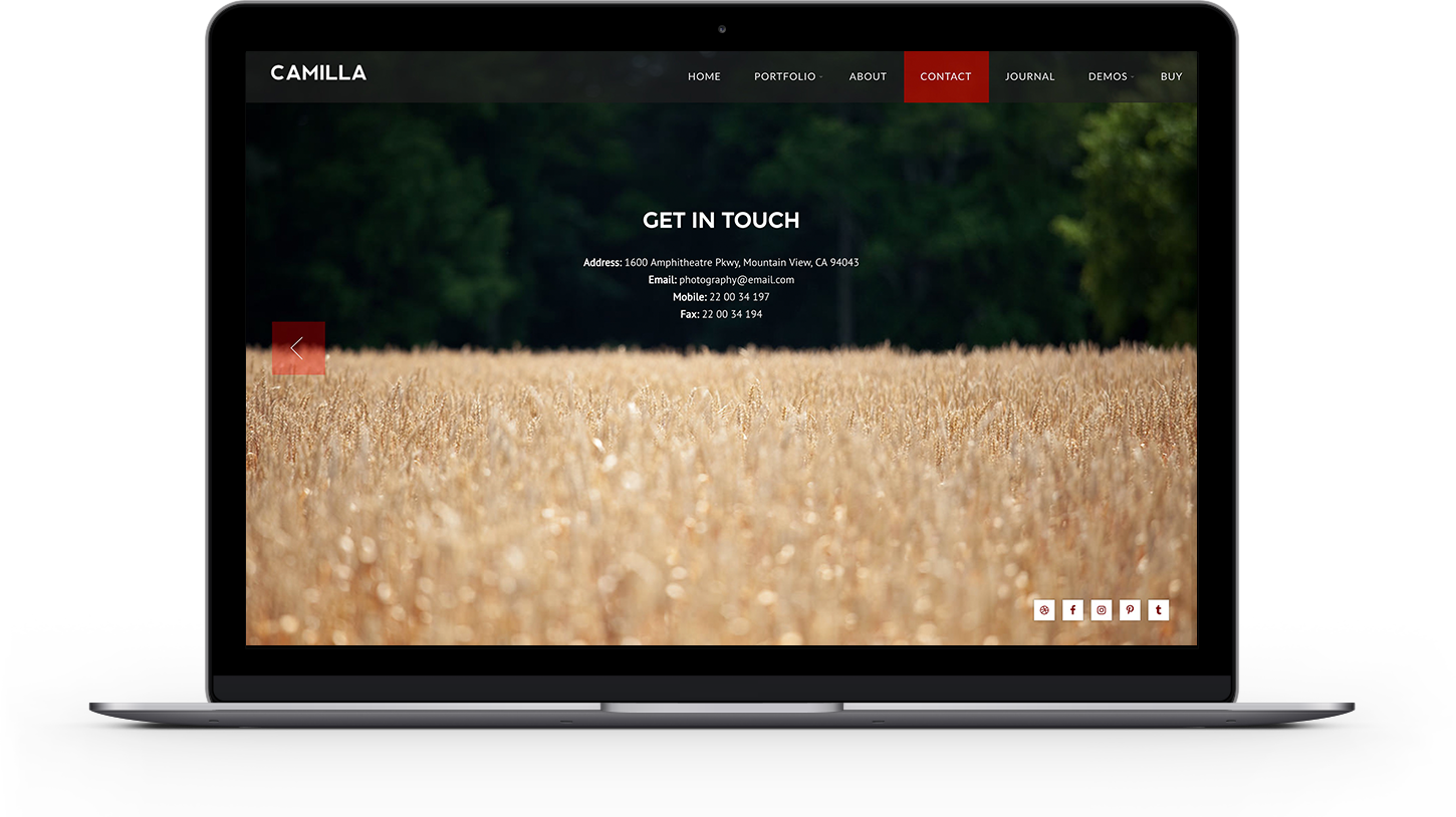 Camilla photography WordPress theme wit page background images