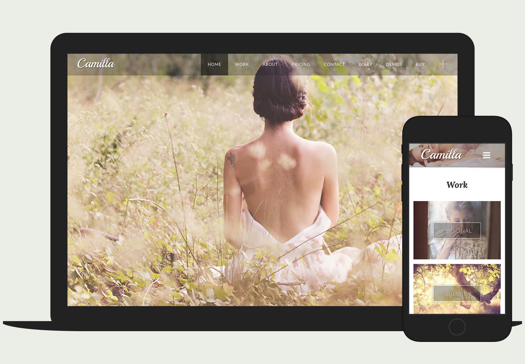 Camilla - Responsive full-screen horizontal photography WordPress theme