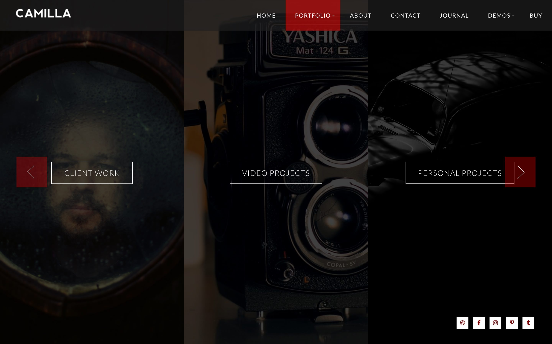 Camilla photography WordPress theme