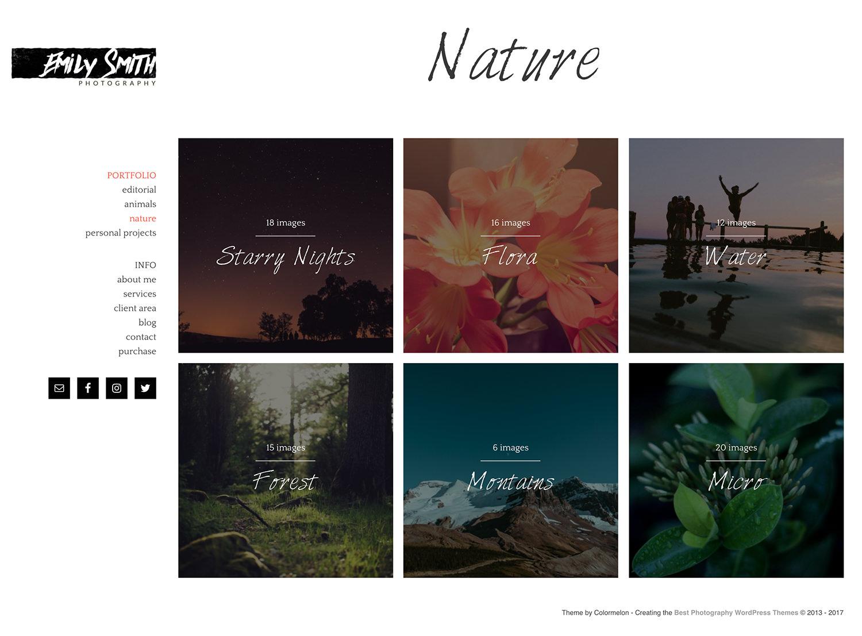 Emily photography portfolio for WordPress