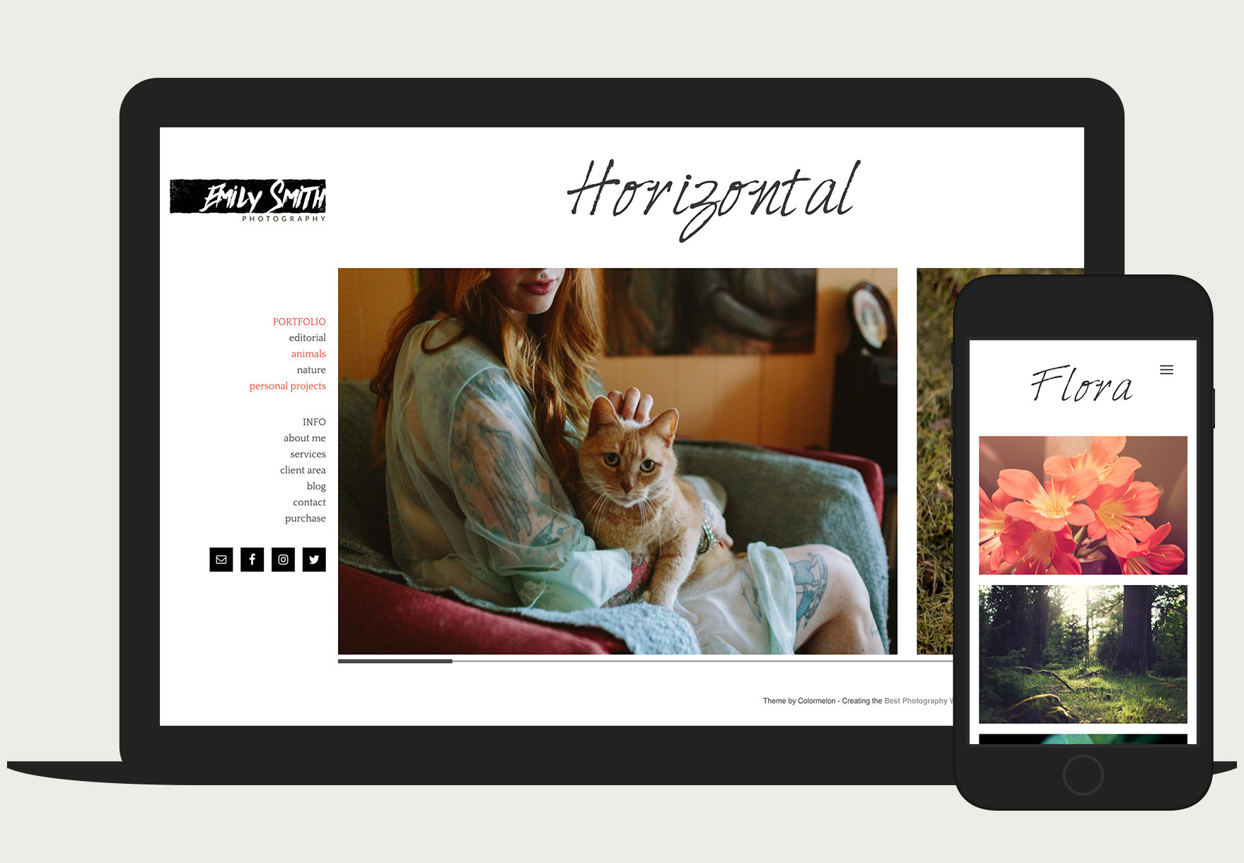 Emily theme by Colormelon - simple portfolio wordpress theme