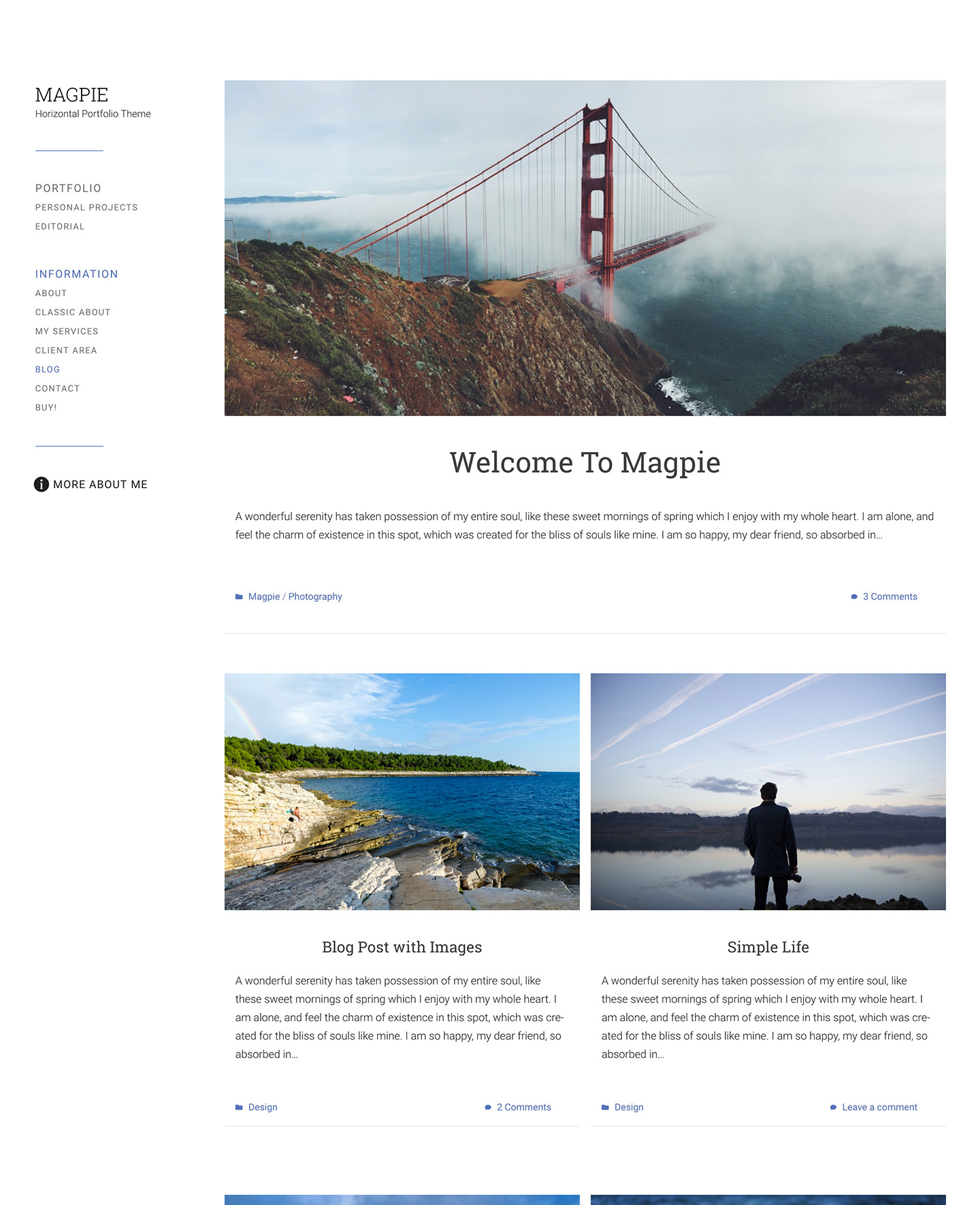 Masgpie wordpress photography theme with a blog