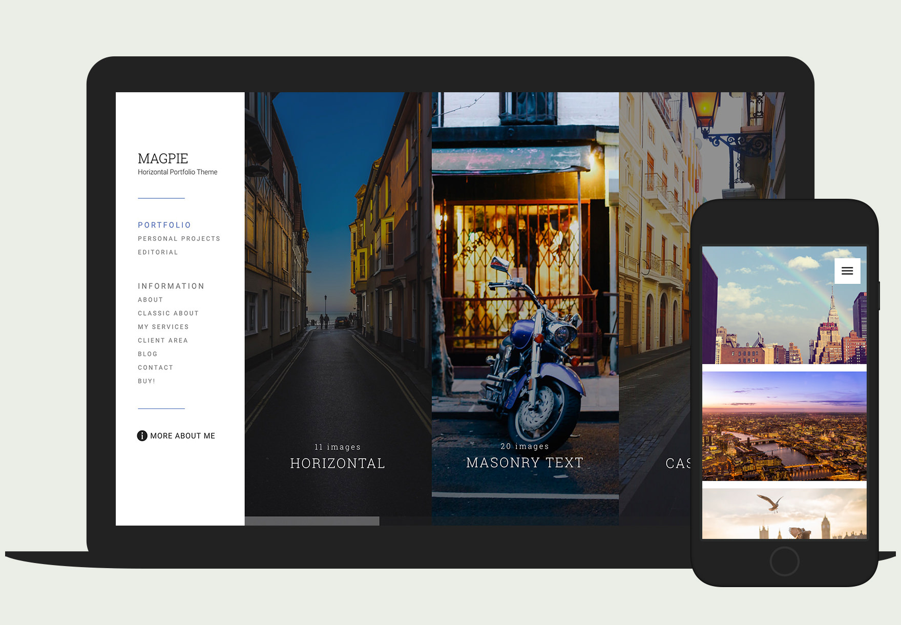 Responsive, horizontal photography WordPress theme called Magpie