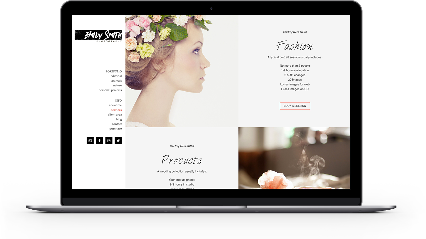 Services page from Emily photography theme