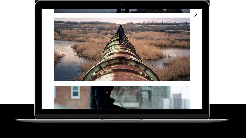 Fullscreen, vertical portfolio layout for Magpie theme.