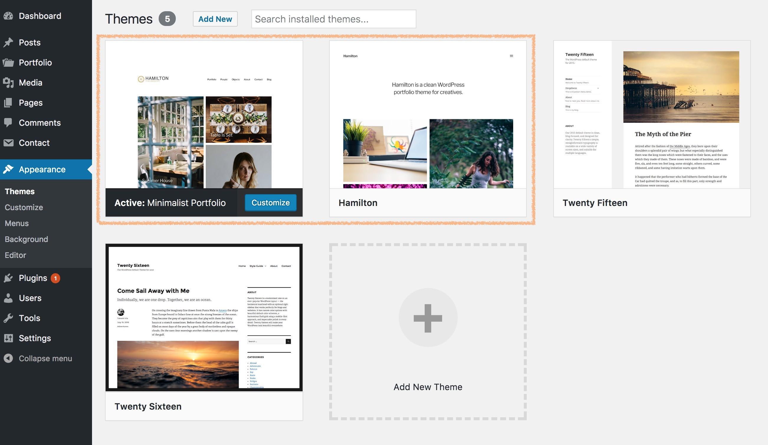 Install Minimalist portfolio theme - free portfolio website design