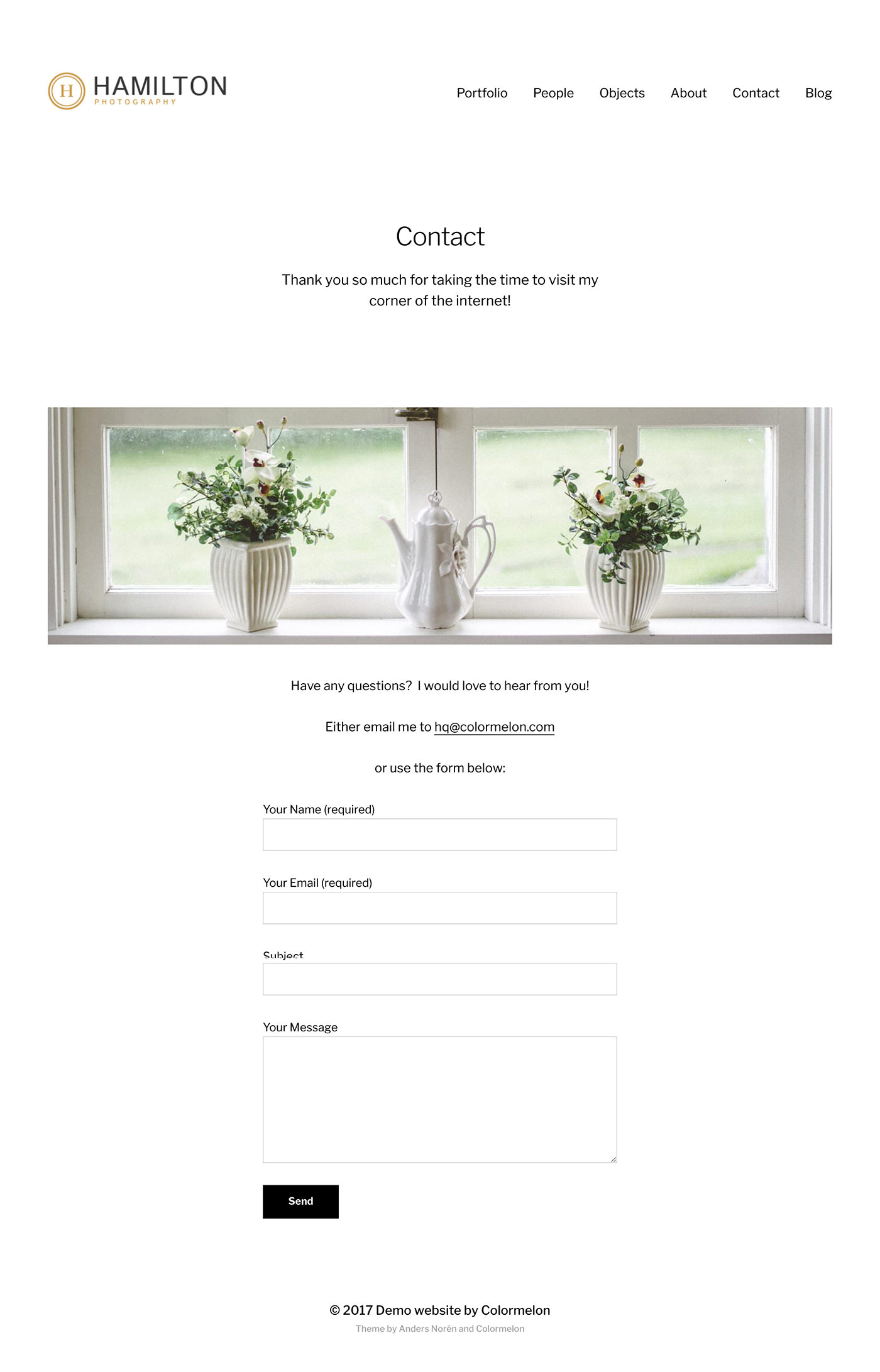 Contact page example for our free portfolio website called Minimalist Portfolio