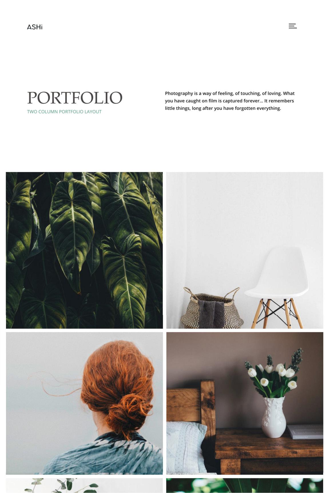 Ashi - minimal portfolio theme with 2 column grid portfolio.