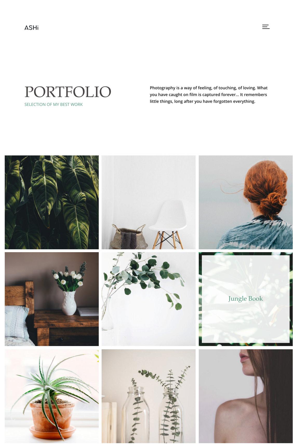 Ashi - minimal portfolio theme with 3 column grid portfolio.