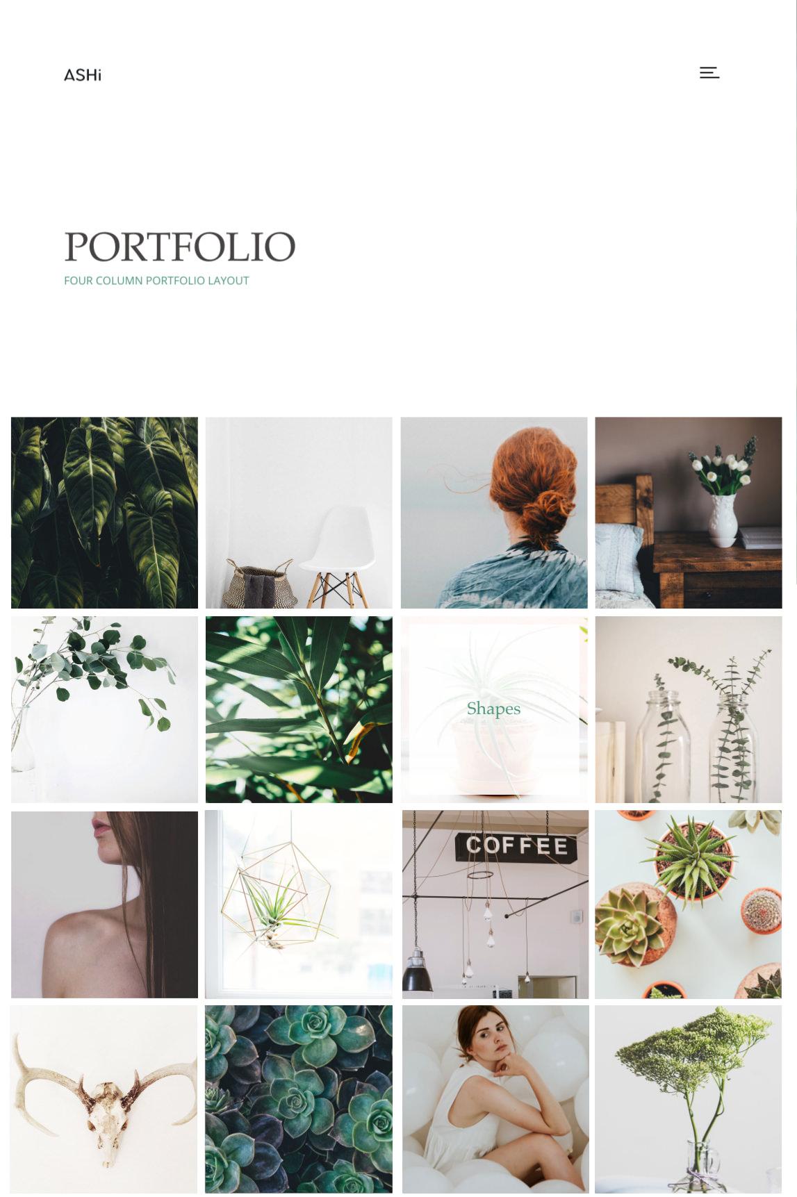 Ashi - minimal portfolio theme with four column grid portfolio.