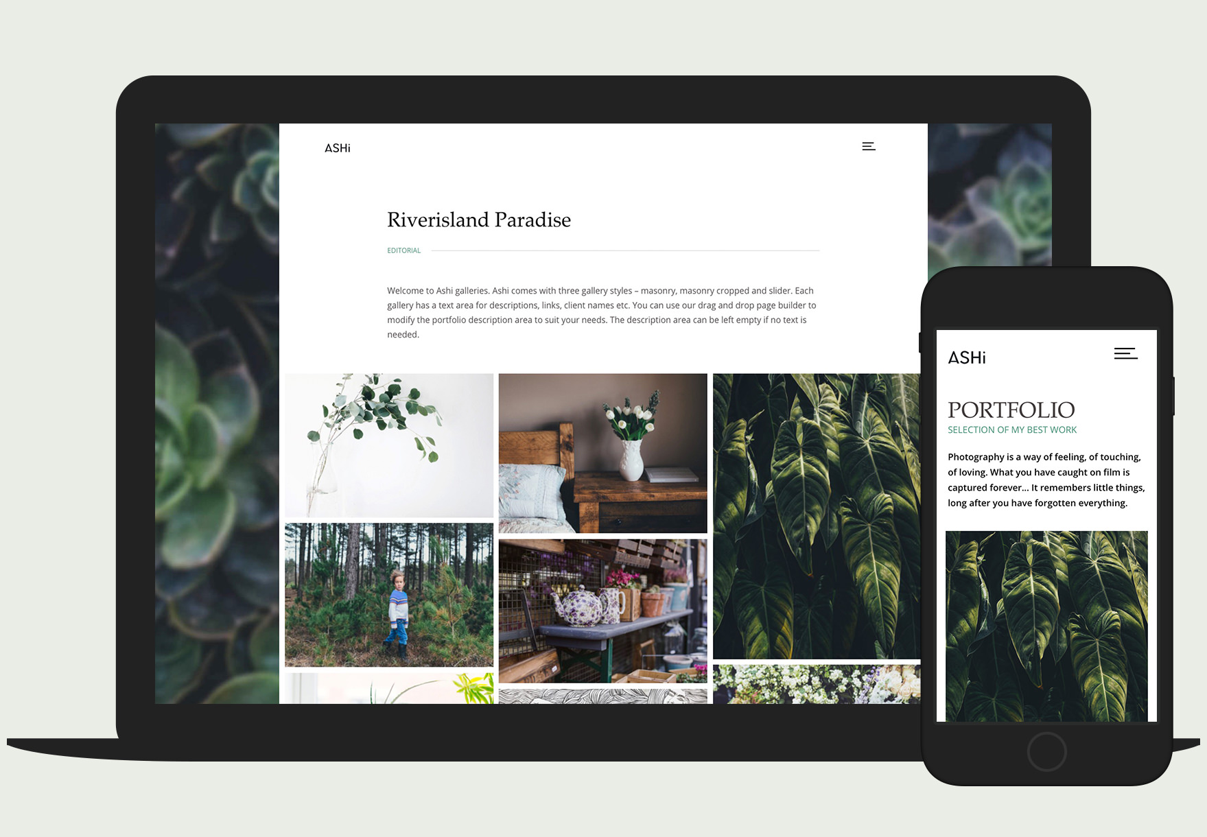 Ashi is a minimal, responsive portfolio theme for photographers and creatives.