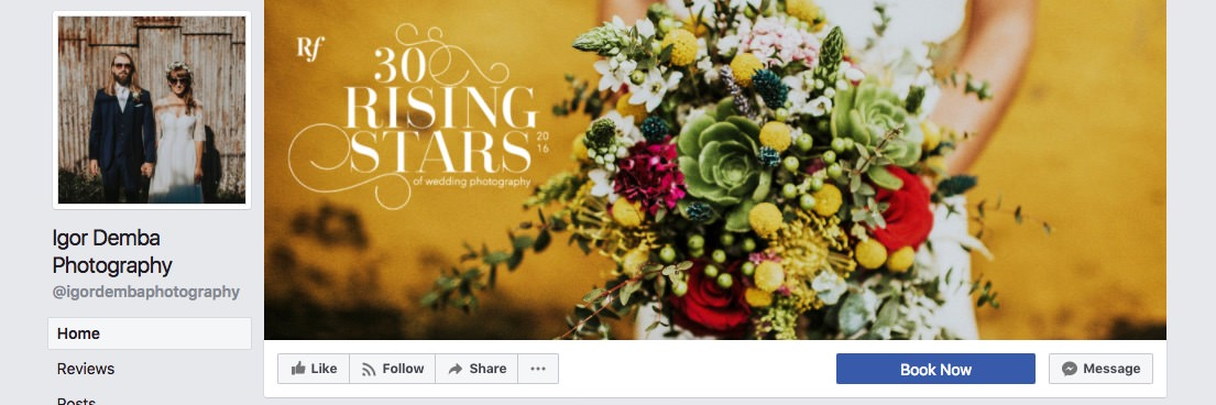 Facebook page cover inspiration - bright image with photography award badge