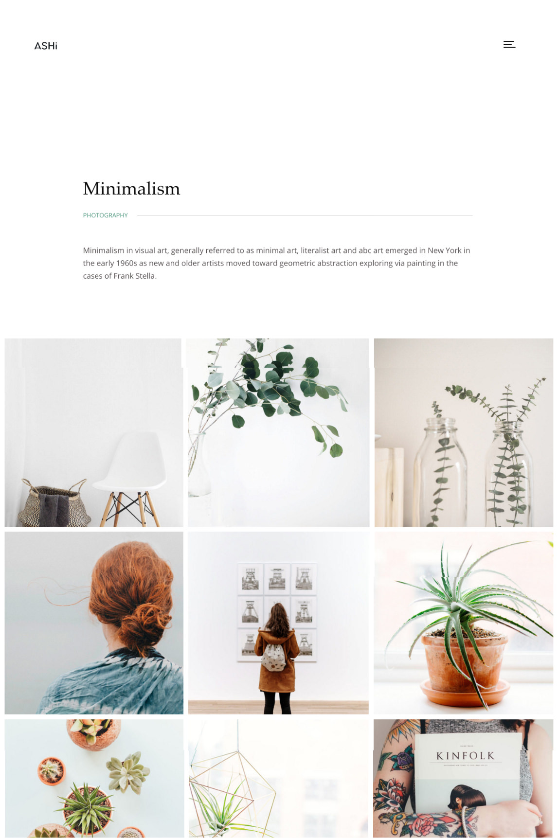 Ashi WordPress theme - grid gallery layout with description