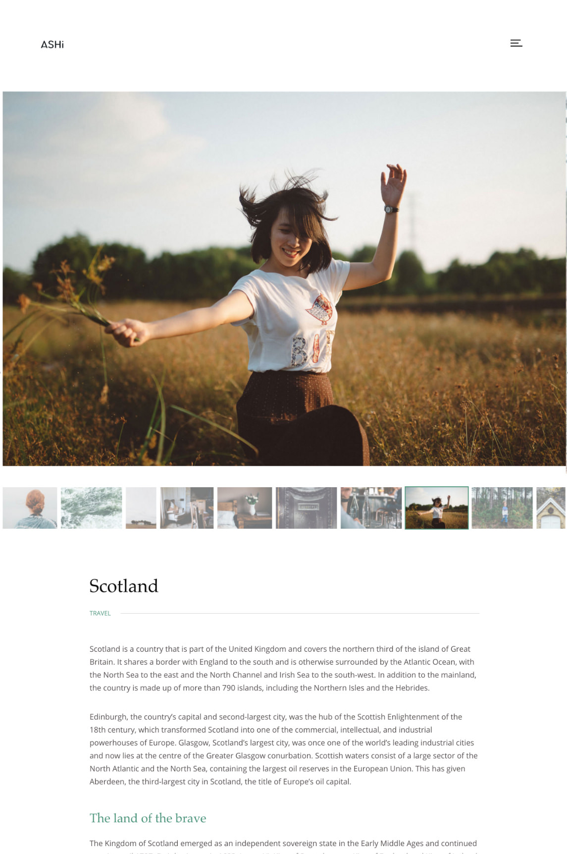 Ashi WordPress theme - single gallery with a large slider and description area.