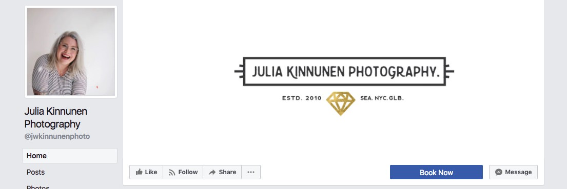 Facebook page cover inspiration - clean logo on white background