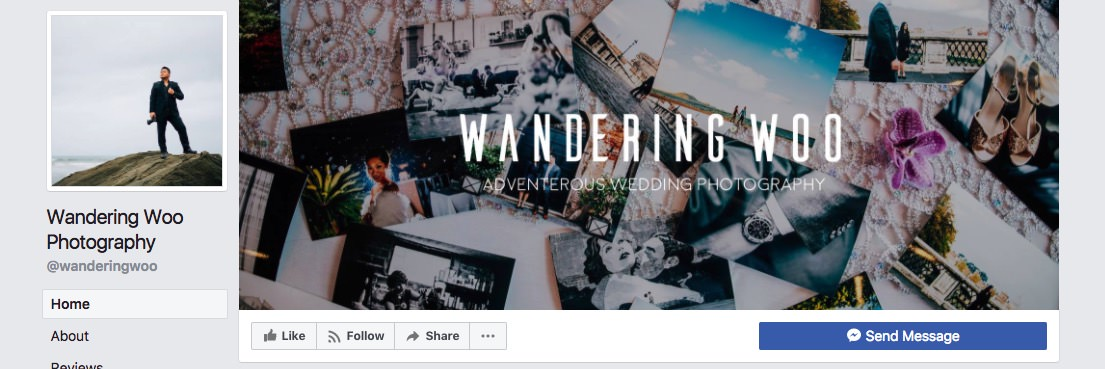 Facebook page cover inspiration - image with a logo and subtitle on top