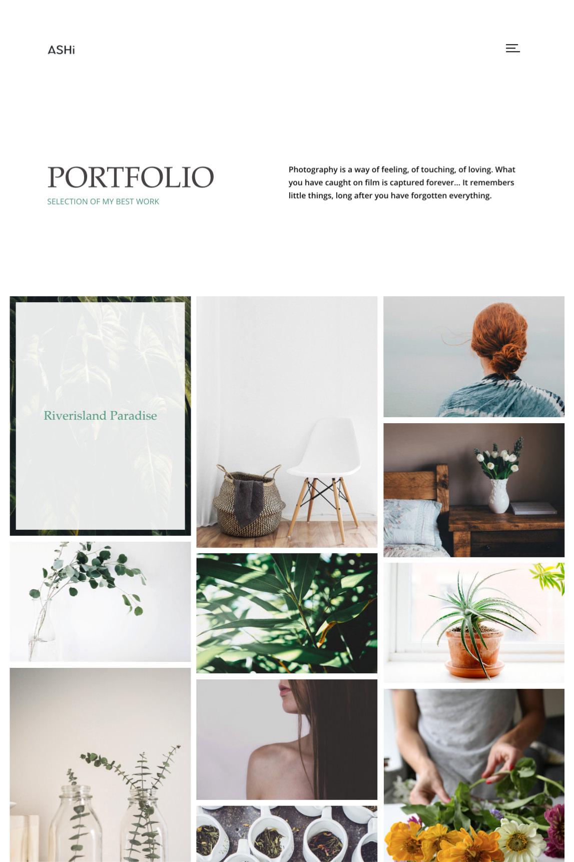 Ashi - minimal portfolio theme with 3 column masonry portfolio.