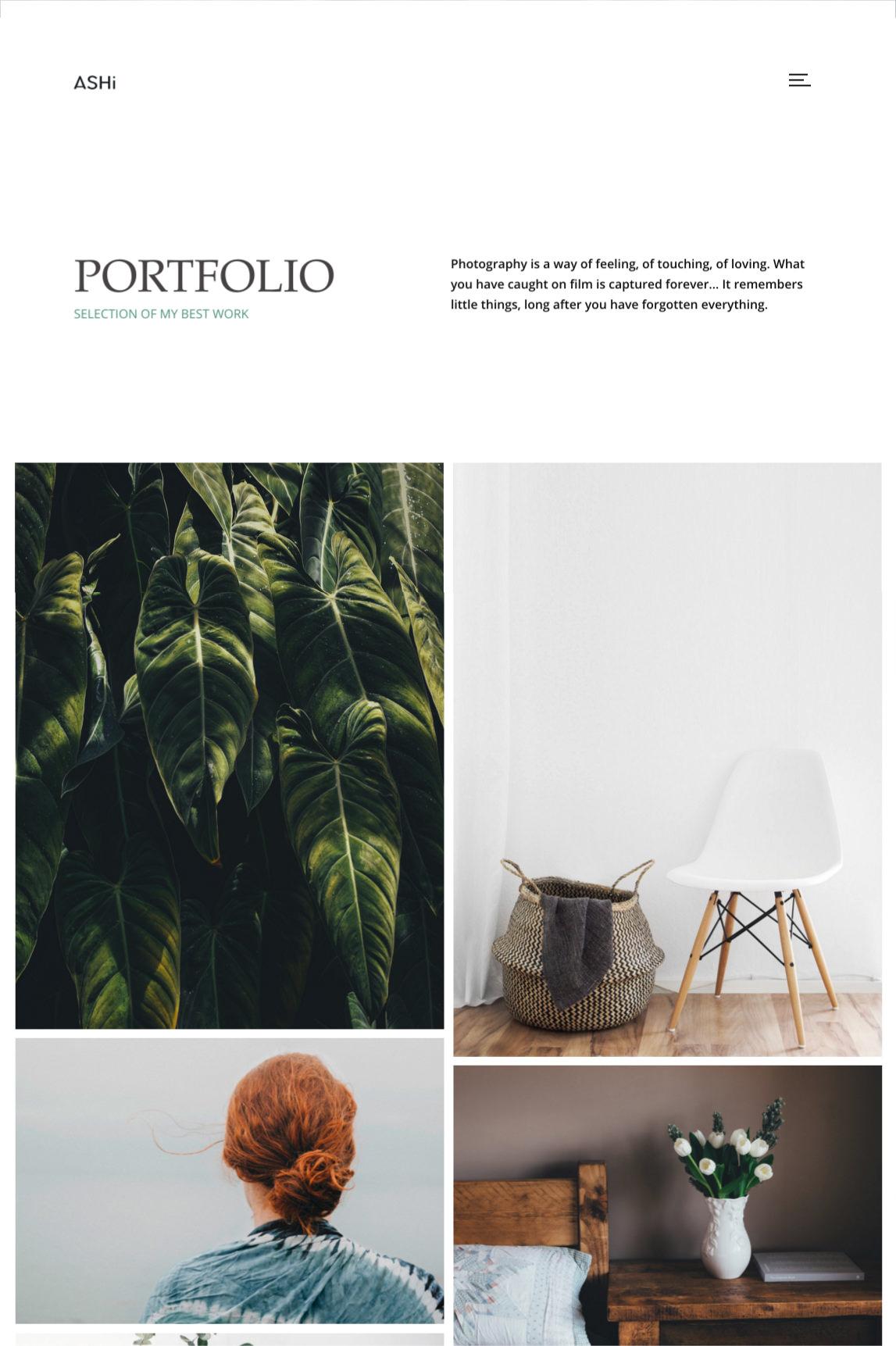 Ashi - minimal portfolio theme with 2 column masonry portfolio.